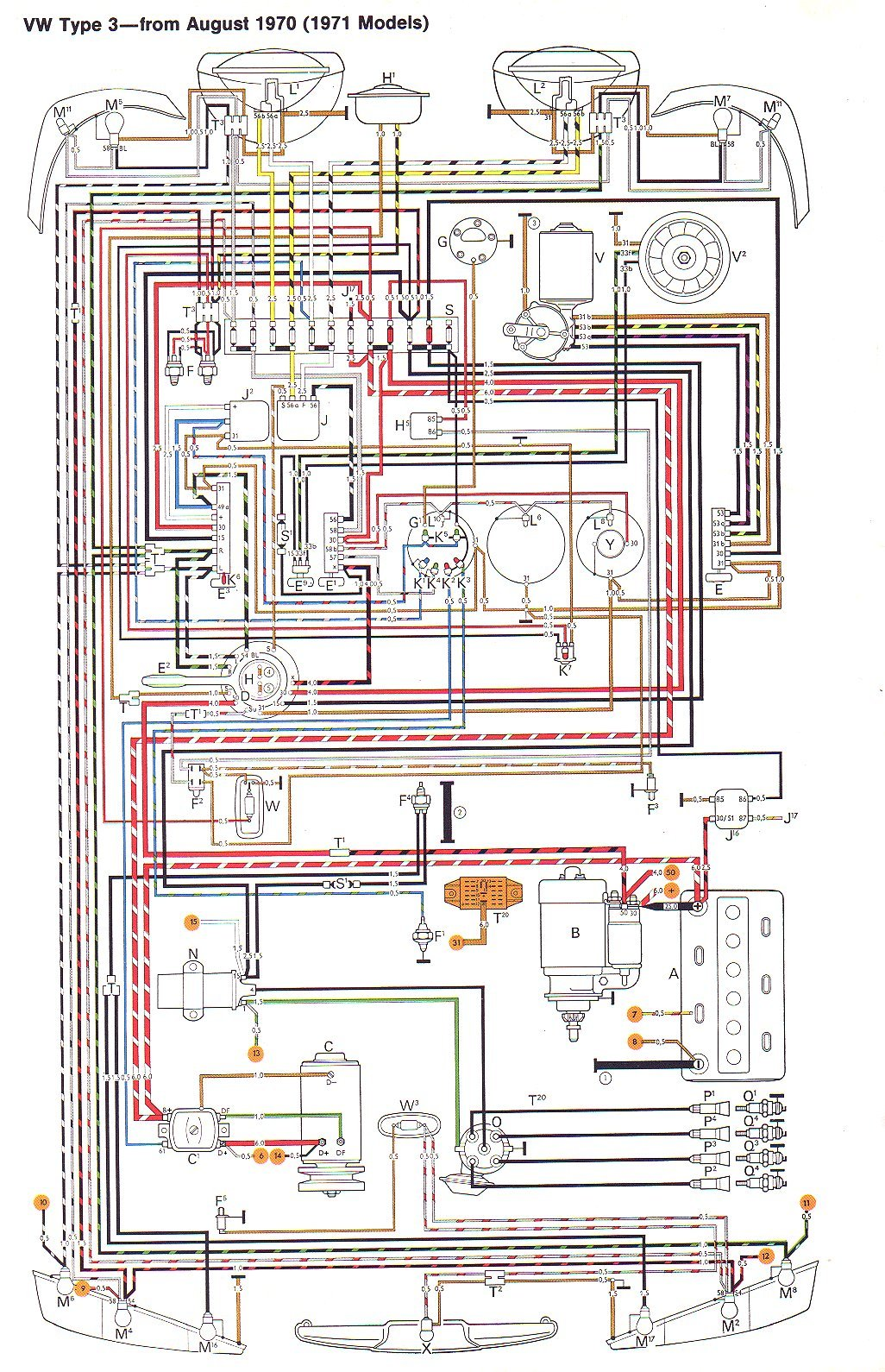 wire71t3 vw type 3 wiring diagrams 1968 vw type 3 wiring diagram at gsmx.co